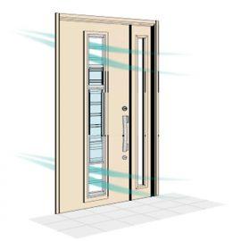 上下の窓を引き上げることによって、湿気が溜まりがちな玄関に風を取り込む事が可能です。